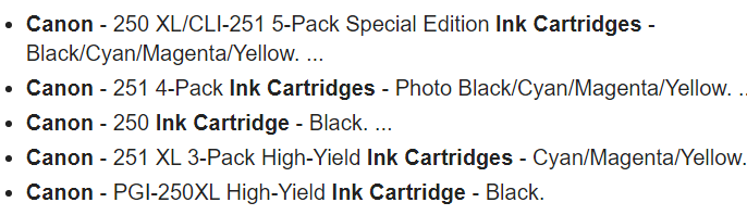 Canon Pixma MX922 Ink Cartridges